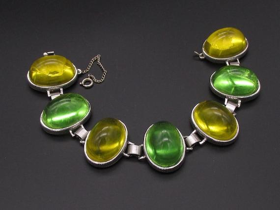 Castlecliff Bracelet, Lucite Bracelet, Green Brace