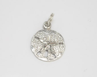Sterling Silver Sand Dollar Charm, Sterling Silver Sand Dollar Pendant, Beach Jewelry, Silver Charm, Beach Charm