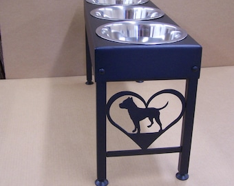 Pit Bull Terrier elevated dog feeder single double or triple bowls