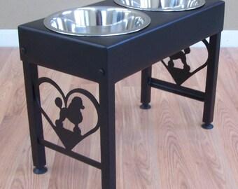 Labrador Dog Feeder Stand Elevated Bowls Lab Metal Art Etsy