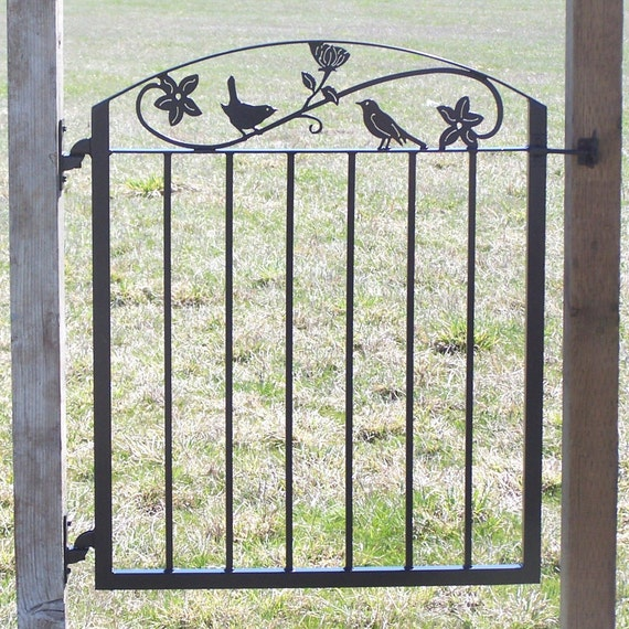 Metal Art Iron Garden Gate With Birds And Flowers Etsy