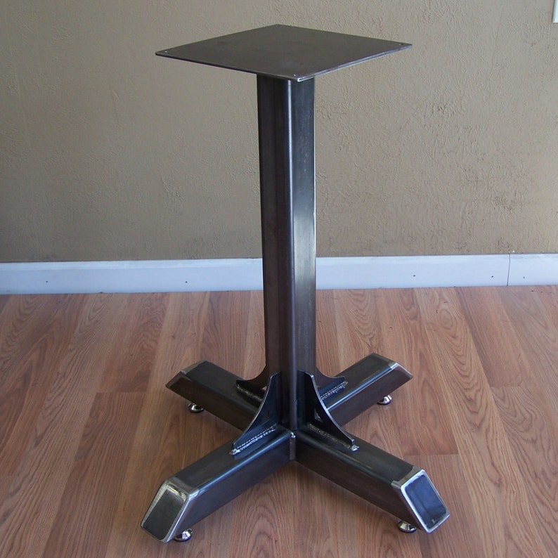Merveilleux Bistro Cafe Table Base Heavy Duty Industrial Steel Pedestal With Gussets
