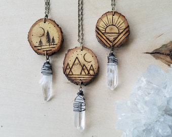 Natural Rustic Burned  Wood Scene Crystal Necklace // OX Copper Wrapped Quartz Crystals // Wood Burning // choker // Necklace