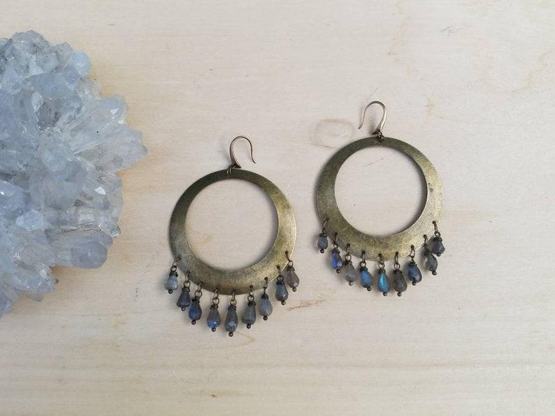 37a9f8055 Bronze Flashy LABRADORITE Stone Boho Chandelier Hoops Earrings   Etsy