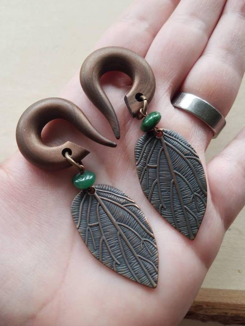Dark Green Jade Copper Leaf Drop Gauged Earring  African Green Jade Stones  Dangle Plugs