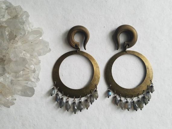 23ac58786 Bronze Flashy LABRADORITE Stone Boho Hoops Gauged Earrings   Etsy