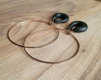 Vintage Copper Dangle Hoop Gauges // 2.5 inch Hoops // Plugs