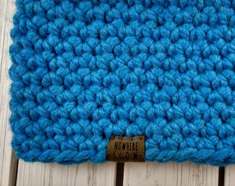 READY TO SHIP - Adult - Thick Headband - Ear Warmer - Short Cowl - blue - handmade gift - crochet - boho