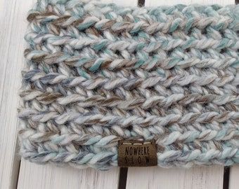 READY TO SHIP - Adult - Thick Headband - Ear Warmer - Short Cowl - white brown sage green stripes - handmade gift - crochet - boho
