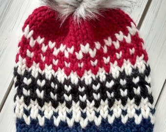 READY TO SHIP - Adult - Hat - Beanie w/ faux fur pompom - red black white dark blue navy - hand knit - handmade gift