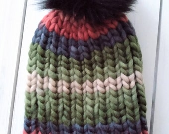 READY TO SHIP - Adult - Hat - Beanie w/ faux fur pompom -  coral black earthtone stripes - ribbed chunky knit - handmade gift - wool blend