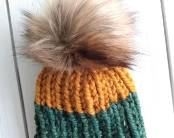 READY TO SHIP - Adult - Hat - Beanie w/ faux fur pompom - green bay packers - green mustard - ribbed chunky knit - handmade gift - wool