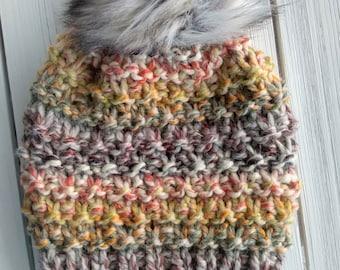 READY TO SHIP - Adult - Hat - Beanie w/ faux fur pompom -  brown orange mustard coney island - knit - handmade gift - wool - slouchy
