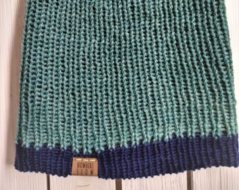 READY TO SHIP - Adult unisex - Hat - Slouchy Beanie - sage green navy blue two tone - wool - handmade machine knit - double thick brim