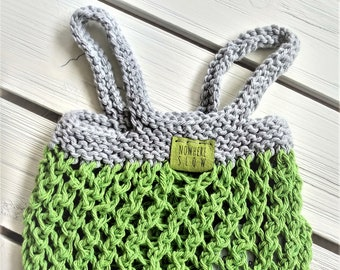Washable Lightweight Produce Bag - Mesh Market Bag - cotton - reusable - zero waste - ecofriendly - gray green - knit - handmade gift
