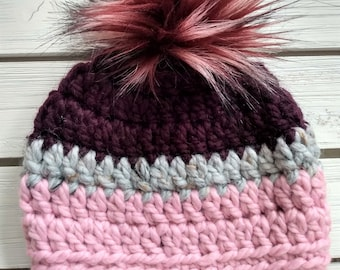 READY TO SHIP - Toddler- 12-24 months - Hat - Beanie w/ faux fur pompom - eggplant purple gray tweed light pink - crochet - handmade gift