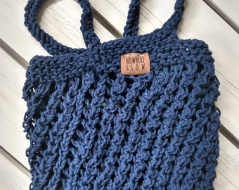 Washable Lightweight Produce Bag - Mesh Market Bag - recycled cotton - reusable - zero waste - eco-friendly - navy blue - knit - handmade