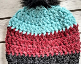 READY TO SHIP - Kids- 7-10 years - Hat - Beanie with faux fur pompom - aqua red charcoal black - alpaca wool blend - crochet - handmade gift