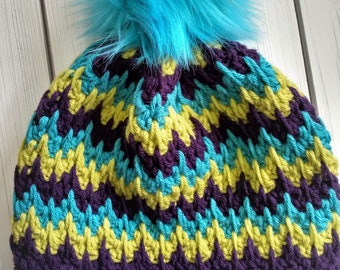 READY TO SHIP - Adult - zig zag Beanie - Hat w/ big faux fur removable pom pom - green - purple - crochet - handmade gift