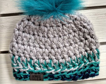READY TO SHIP - Baby - 0-3 months - Hat - Beanie with faux fur pompom - gray silver tinsel navy blue turquoise - baby shower gift - sparkly