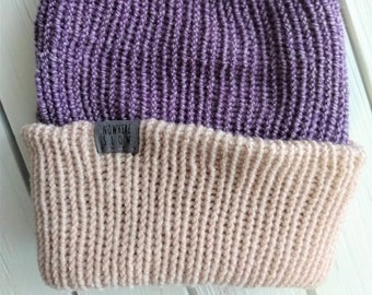 READY TO SHIP - Adult unisex - Hat - Slouchy Beanie - purple rose pink - premium acrylic - handmade machine knit - double thick brim
