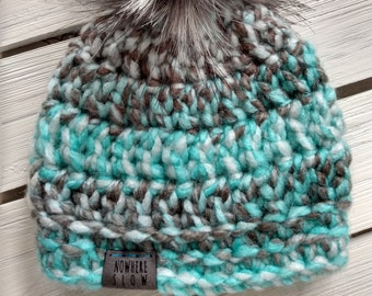 READY TO SHIP - Baby - Newborn - Hat - Beanie with faux fur pompom - grey aqua white - crochet - baby shower gift - handmade - acrylic