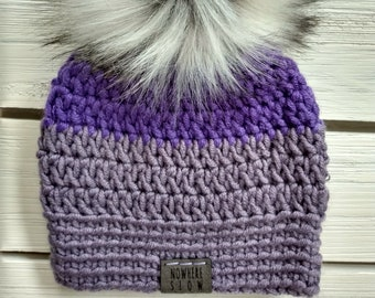 READY TO SHIP - Baby - Newborn - Hat - Beanie w/faux fur pompom - purple - bamboo nylon acrylic - photography prop - crochet - handmade gift