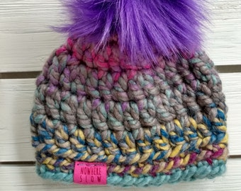 READY TO SHIP - Baby - Newborn - Hat - Beanie with faux fur pompom - purple gray pink blue yellow - crochet - handmade - baby shower gift