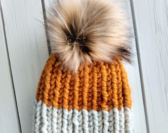 READY TO SHIP - Adult - Hat - Beanie w/ faux fur pompom -  cream white mustard yellow - ribbed chunky knit - handmade gift - wool blend