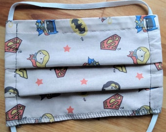 READY TO SHIP - Pleated Cotton Cloth Face Mask - Adjustable Mask - Reusable - Washable - baby superheroes - super woman wonder woman batgirl