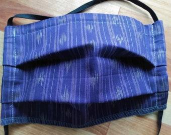 READY TO SHIP - Pleated Cotton Cloth Face Mask - Adjustable Face Mask - Reusable Face mask - Washable Mask - Dark Purple woven print -Boho