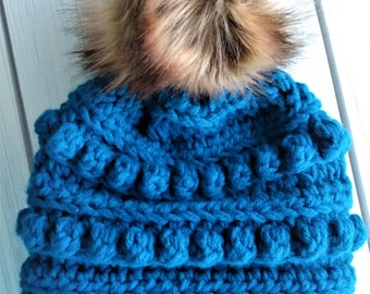 READY TO SHIP - Teen/ Small adult - Hat - Beanie with faux fur pompom - peacock blue - bubble beanie - crochet - handmade gift - large pom