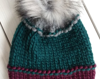 READY TO SHIP - Adult - Hat - Beanie w/ faux fur pompom -  gray green purple - knit - handmade gift - wool - slouchy