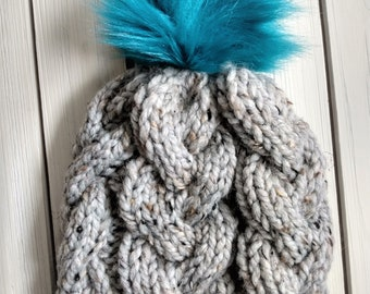 READY TO SHIP - Adult - Monster Cables Beanie - Hat w/ big faux fur removable pom pom - gray - hand knit - handmade gift - cables