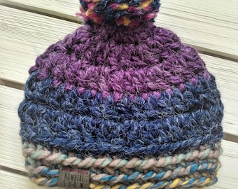 READY TO SHIP - Baby - 0-3 months - Hat - Beanie with pompom - purple navy gray yellow - alpaca wool - crochet - handmade - baby shower gift