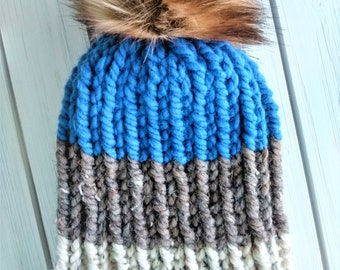 READY TO SHIP - Adult - Hat - Beanie w/ faux fur pompom -  blue brown cream - ribbed chunky knit - handmade gift - wool acrylic blend