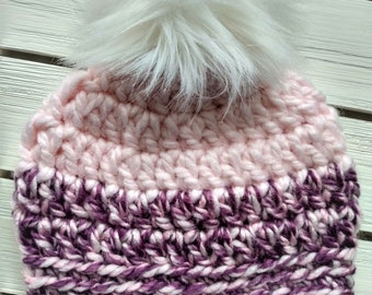 READY TO SHIP - Baby - 6-12 months - Hat - Beanie with faux fur pompom -pale pink purple - crochet - handmade - baby shower gift - wool