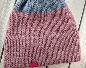 READY TO SHIP - Adult - Hat - fitted Beanie - double brim - two tone - purple pink - wool acrylic - knit - handmade gift