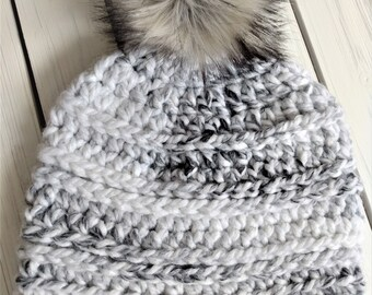 READY TO SHIP - Adult - Hat - Beanie w/ faux fur pompom - cream white black gray - crochet - handmade gift - wool acrylic