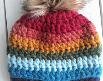 READY TO SHIP - Baby - Newborn - Hat - Beanie w/ faux fur pompom - rainbow - alpaca wool blend - crochet - handmade - baby shower gift
