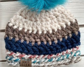 READY TO SHIP - Baby - 0-3 months - Hat - Beanie w/ faux fur pompom - cream brown navy hudson bay - baby shower gift - crochet - handmade
