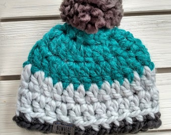 READY TO SHIP - Baby - Newborn - Hat - Beanie with pompom - teal gray - photography prop - alpaca wool acrylic blend - baby shower gift