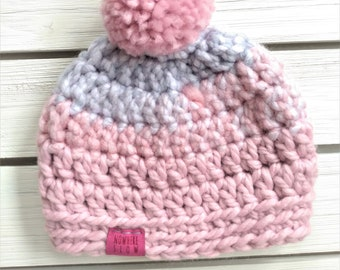 READY TO SHIP - Baby - 3-6 months - Hat - Beanie with pompom - pink blue white - crochet - baby shower gift - baby girl - handmade - acrylic