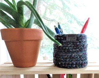 "READY TO SHIP - Two 3.5"" Baskets - Crochet Baskets - round storage organizer - home decor - waldorf/montessori baskets - blue gray purple"