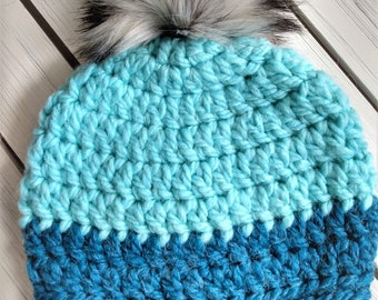READY TO SHIP - Kids - 7-10 years - Hat - Beanie with faux fur pompom - light and dark blue - crochet - handmade gift