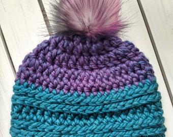 READY TO SHIP - Adult - Hat - Beanie w/ big rainbow faux fur removable pom pom - purple teal - crochet - handmade gift