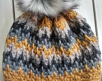 READY TO SHIP - Adult - zig zag Beanie - Hat w/ big faux fur removable pom pom - mustard - gray - crochet - handmade gift