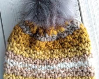 READY TO SHIP - Adult - Hat - Beanie w/ faux fur pompom - yellow mustard cream striped - chunky knit - handmade - wool acrylic - slouchy
