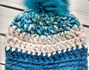 READY TO SHIP - Baby - 6-12 months - Hat - Beanie with faux fur pompom - blue white - crochet - handmade - baby shower gift - alpaca wool