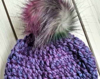 READY TO SHIP - Toddler - 12-24 months - Hat - Beanie w/ faux fur pompom - purple blue - rainbow pom pom - crochet - handmade gift